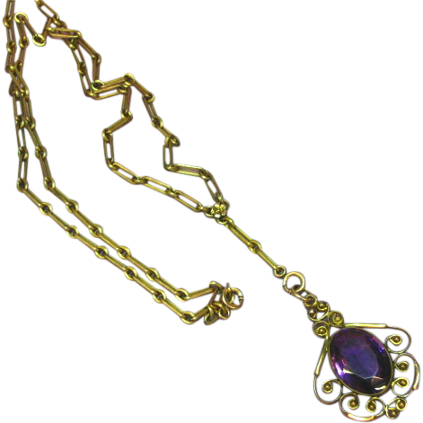 Edwardian Beautiful Vintage Gold-Filled Amethyst  Lavalier Necklace