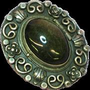 Vintage Sterling Silver Shimmer Obsidian  Pin Brooch Pendant for Necklace