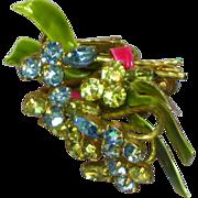 Vendome Coro Rhinestones and Enamel Screw Clip Floral Earrings