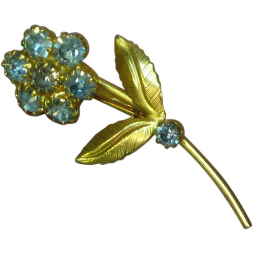 Sweet Powder Blue Rhinestones Flower Pin Brooch