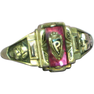 Jostens Sterling High School Ring with Red Stone and P 1980