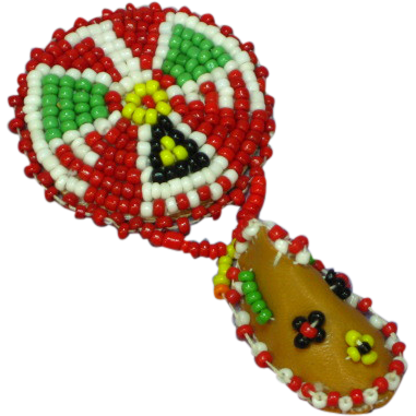 Beaded Pin Brooch Native American Motif Green Black Red White