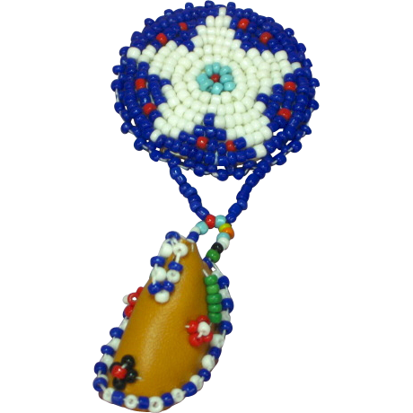 Beaded Pin Brooch Native American Motif Blue Red White Green