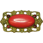 Czech Gorgeous Red Coral Glass Cabochon Brooch Pin