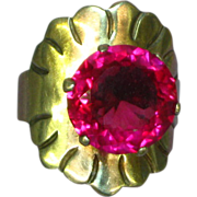 Early Mexican Mexico Sterling Man Made Ruby Ring