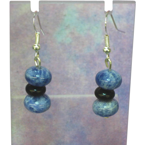 Denim Lapis Drop Pierced Earrings