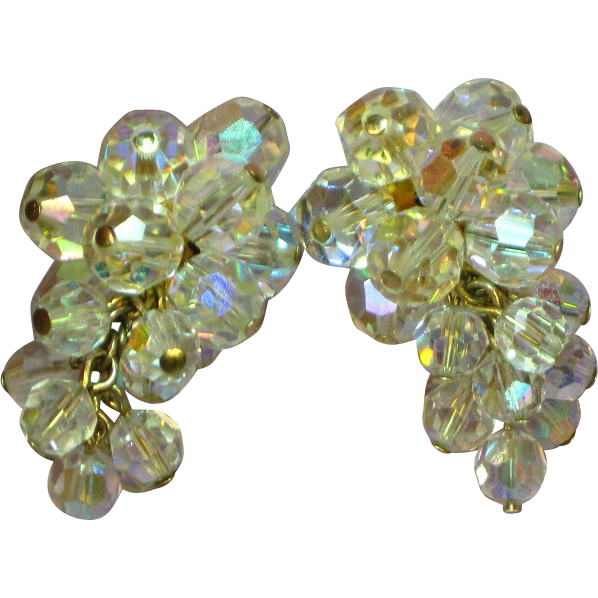 Vintage Crystal Cluster Drop Dangle  Chandelier Clip Earrings