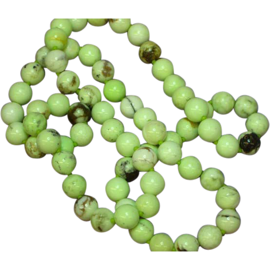 "Gemstone Natural Yellow Chrysoprase Beads 22"" Necklace"