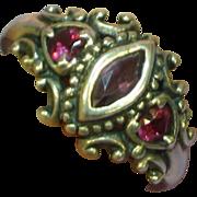 Gemstone Genuine Amethyst Ruby Sterling Silver Ring