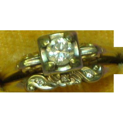 SALE!!  14K Yellow and White Gold Diamond Wedding Ring Set .33 Carat