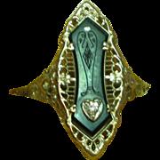 14K White Gold Filigree Art Deco Etched Black Onyx .03 Carat Diamond Cocktail Ring