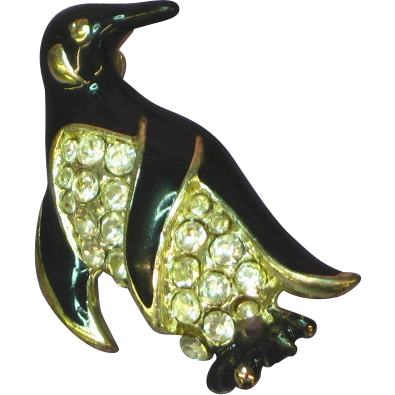 Rhinestones Enamel Darling Penguin Figural Pin Brooch