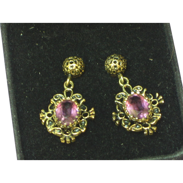 Gemstones Victorian Revival Style Elegant Vintage Amethyst Pierced Drop Dangle Earrings