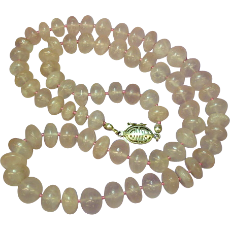 """Vintage Gemstone Quality Icy Pink Hand Rounded Rose Quartz 22"""" Necklace"""
