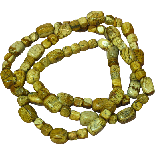 Gemstones Natural Picture Jasper Bead Necklace