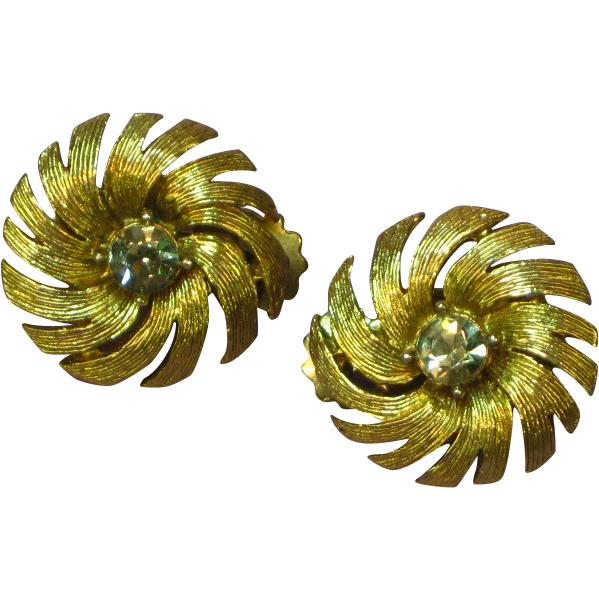 Rhinestones Gold Tone Button Clip On Earrings