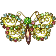 Vintage Rhinestone Pastel Juliana Look  Butterfly Pin Brooch