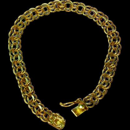 "Vintage 14k Gold Double Link Bracelet  Circa 1980's 7"" Long 8.1 Grams"