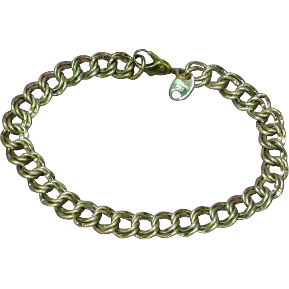 Unique Diamond Cut Double Link Chain Sterling Silver Charm Bracelet