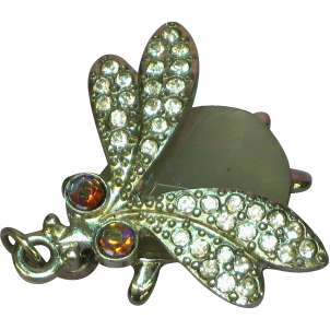 50% OFF SALE  Whimsical Bug Insect Rhinestones Winged  w  Faceted Glass Jewel Body Charm Pendant