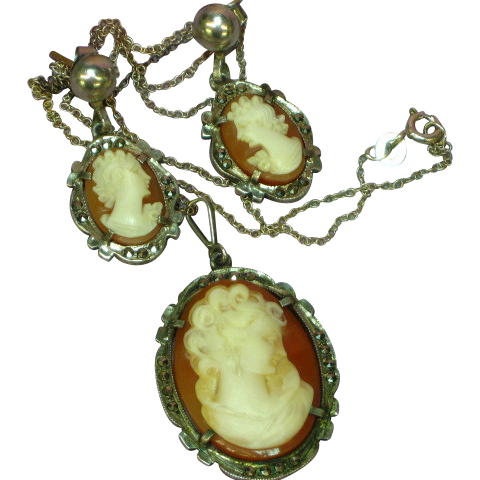 Camexco Hallmarked Italian Sterling Silver, Marcasite and Hand-Carved Shell Cameo Pendant Necklace and Matching Pierced Earrings Set Demi Parure