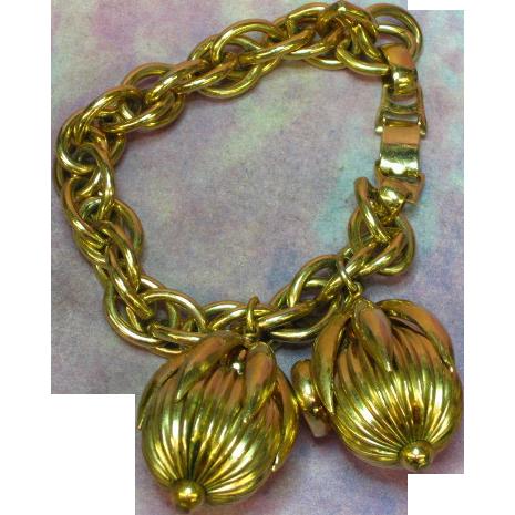 Napier Golden Cumquat Heavy Charm Bracelet