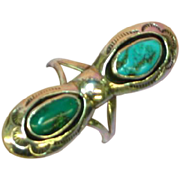 Native American Indian Sterling Silver and Turquoise Long Size 6-1/2 Ring