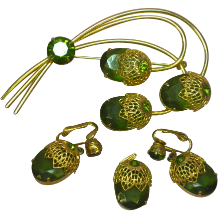 SALE!!  Sarah Coventry Lovely Vintage Green Rhinestones Branch Floral Pin Brooch  Matching Dangle Clip Earrings Pendant Set Parure