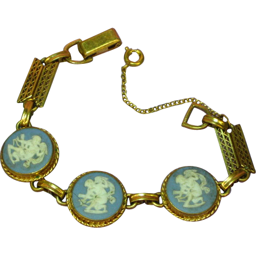 Wedgewood Blue Gold Filled Bracelet