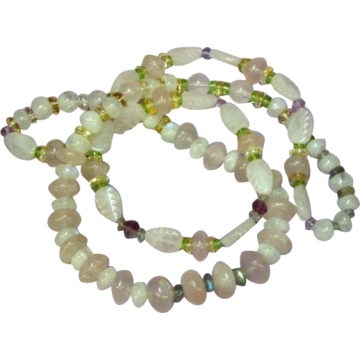 "Gemstones Carved Rose Quartz Labradorite Citrine Peridot Amethyst Beads 26"" Necklace"
