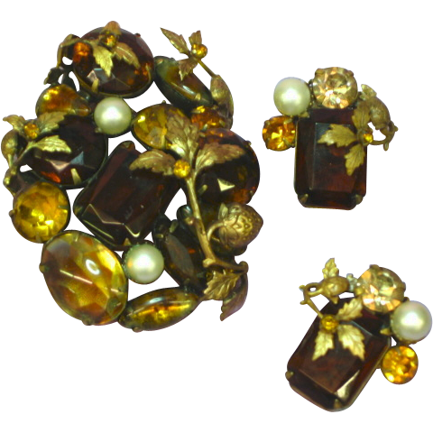 Gorgeous Topaz Citrine Art Glass Strawberries Brooch Pin Earrings Set Demi Parure