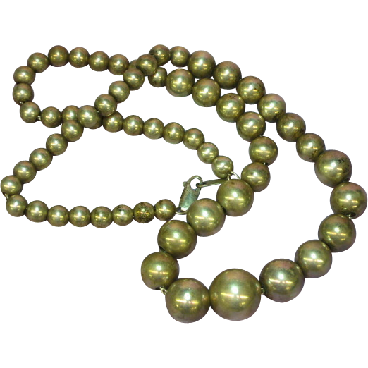 """Vintage Sterling Silver Graduated Beads 18"""" Necklace"""