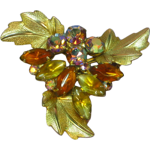 Bright and Beautiful Golden Orange Vitrail A/B Rhinestones with Yellow and Gold Givre Art Glass Stones Pin Brooch
