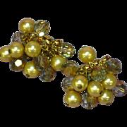 Kramer Rhinestones Champagne Pearls and Mink Crystal Clip Earrings