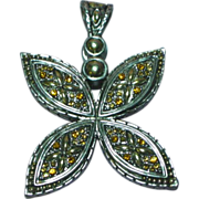 Vintage Silver Tone Topaz Rhinestone Detailed Pendant Charm Slide Enhancer for Beads or Necklace