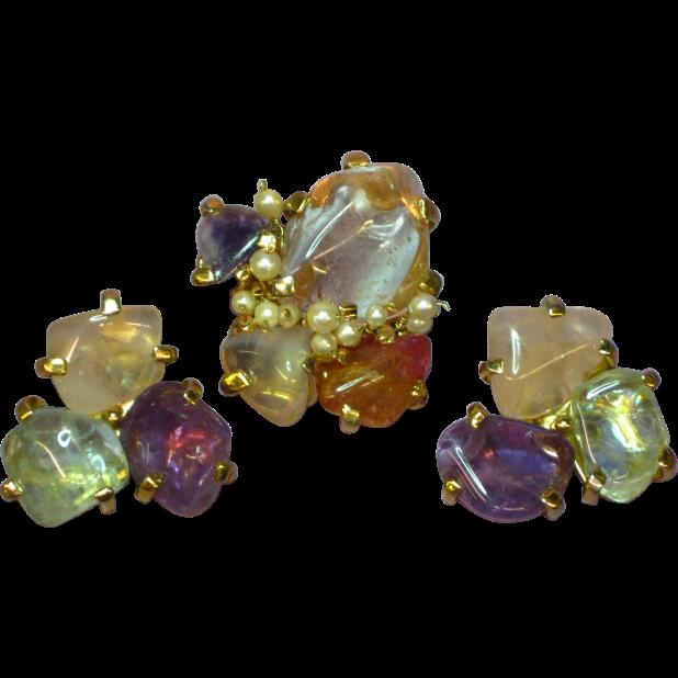 Gemstones Chunky Genuine Cultured Pearls Pin Brooch Clip Earrings Set Demi Parure