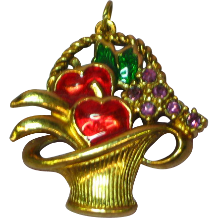 Enamel Rhinestones Fruit Basket Figural Charm Pendant