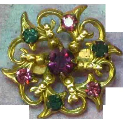 Rhinestones Prong Set Precious Gold Tone Snowflake Pin Brooch