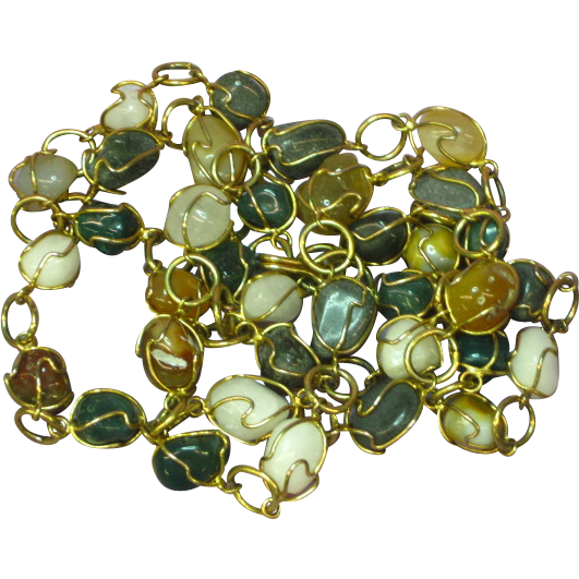 "Vintage  Agates Mixed Gold Tone Wired Caged Necklace 32"" Long Chain Necklace"