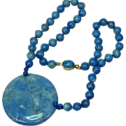 "Gemstones Hand Knotted True Denim Lapis Beads 18"" Necklace"