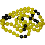 "Gorgeous Vintage Genuine Black and Yellow Jadeite Jade Hand Knotted 33"" Necklace"