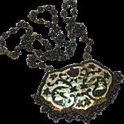 "Antique Silver Gemstones Garnet Hand Made Enamel and Beaded 18"" Necklace"