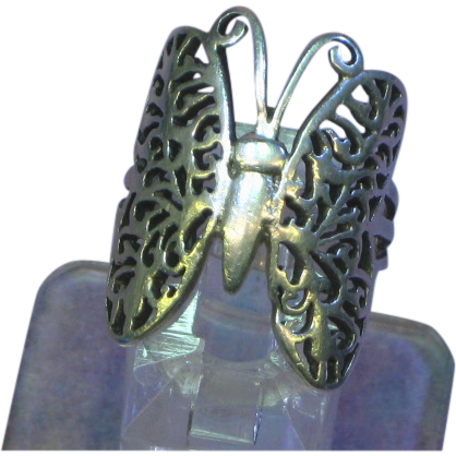 Sterling Silver Figural Filigree Butterfly Size 7 Ring