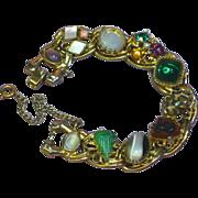 Kafin Unsigned Bold Cabochon Rhinestones Gemstones Bracelet