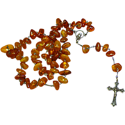 Genuine Amber and Sterling Silver Catholic Crucifix Cross Necklace