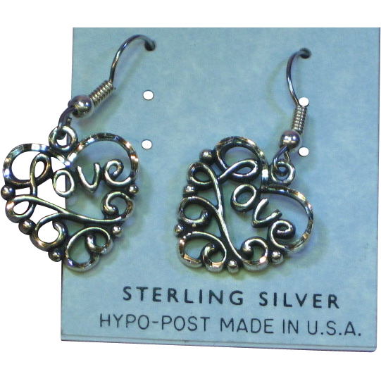 Vintage Sterling Silver  Heart Love Filigree Dangle Pierced Earrings