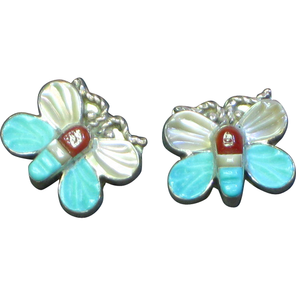 Native American Zuni Inlay Coral Turquoise MOP Sterling Silver Pierced Earrings New Old Stock NOS on Original Card.