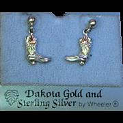 Black Hills Dakota 12K Gold and Sterling Silver Cowboy Boots Pierced Dangle Earrings NOS