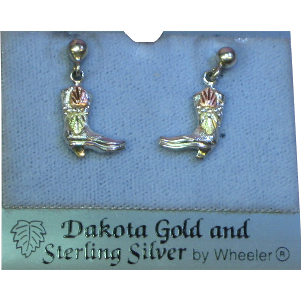 Black Hills Dakota 12K Gold and Sterling Silver Cowboy Boots Pierced Dangle Earrings NOS