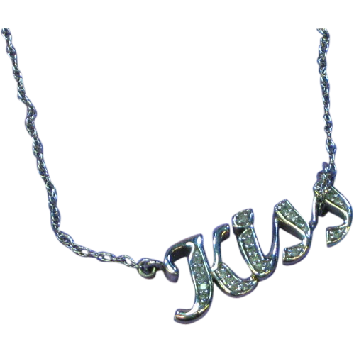 Sterling Silver Diamonds KISS Necklace